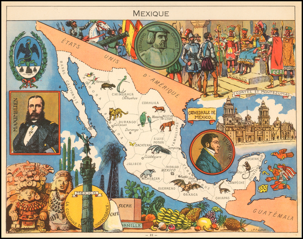 31-Mexico and Pictorial Maps Map By Joseph Porphyre Pinchon