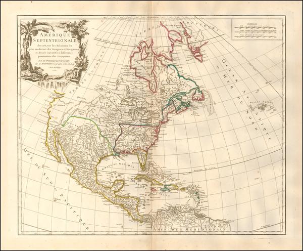 26-North America Map By Gilles Robert de Vaugondy