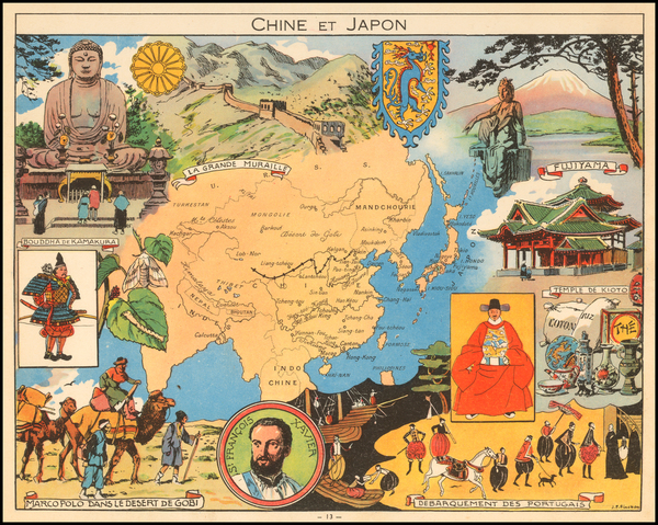 47-China and Pictorial Maps Map By Joseph Porphyre Pinchon