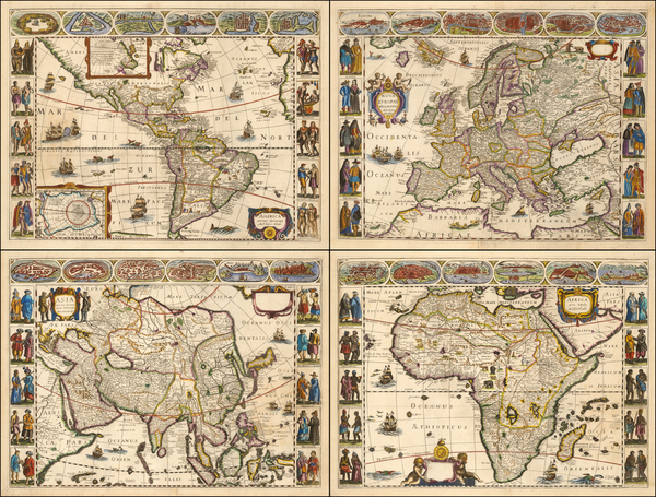 60-Europe, Asia, Africa and America Map By Jodocus Hondius / Anonymous