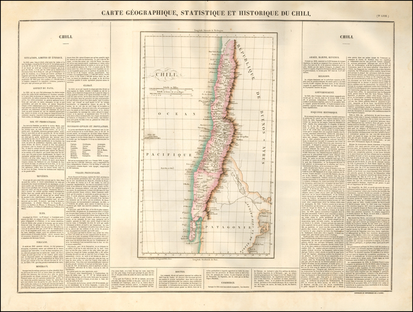55-South America and Chile Map By Jean Alexandre Buchon