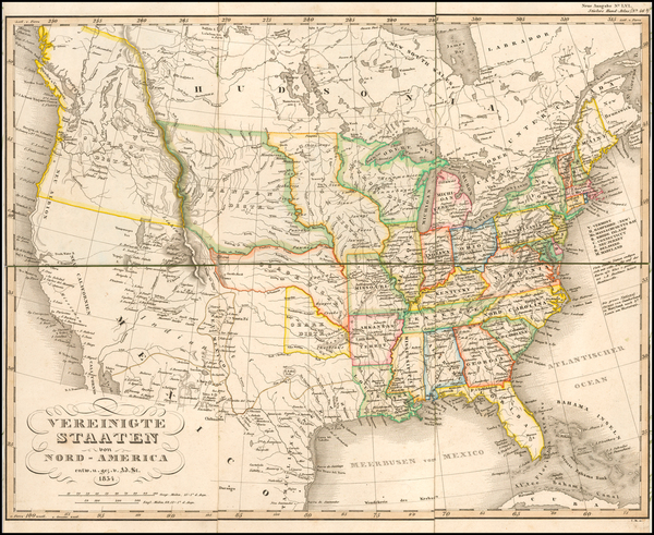 45-United States, Mexico, South America and Atlases Map By Adolf Stieler