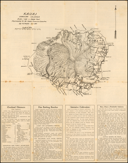 32-Hawaii and Hawaii Map By H. E. Newton