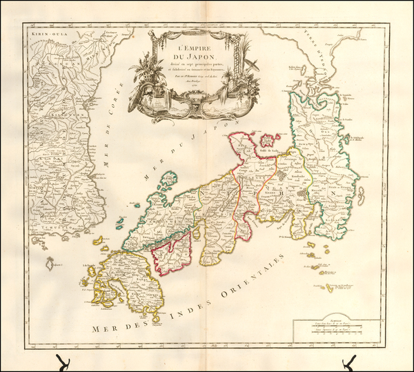 Japan and Korea Map By Gilles Robert de Vaugondy