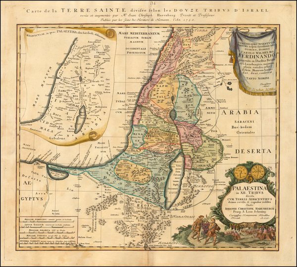 Asia and Holy Land Map By Homann Heirs / Johann Christoph Harenbergh