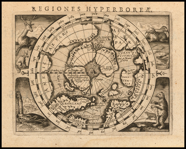 63-Polar Maps Map By Petrus Bertius
