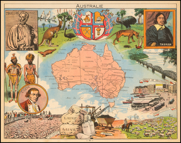 42-Australia and Pictorial Maps Map By Joseph Porphyre Pinchon
