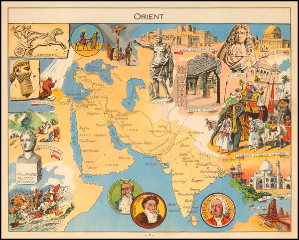 India & Sri Lanka, Central Asia & Caucasus, Middle East, Arabian Peninsula, Persia and Pictorial Maps Map By Joseph Porphyre Pinchon