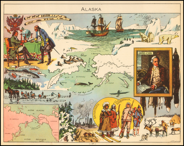 87-Alaska and Pictorial Maps Map By Joseph Porphyre Pinchon