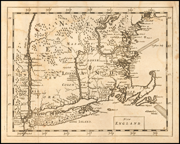 93-New England and New York State Map By Sir Jonas Moore