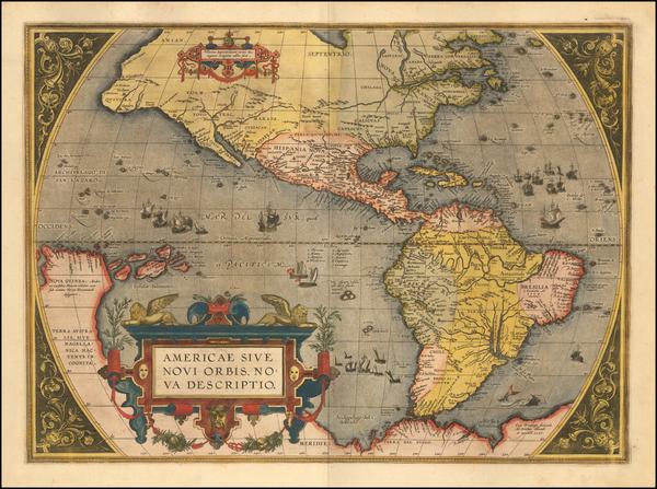 82-Western Hemisphere, North America, South America and America Map By Abraham Ortelius