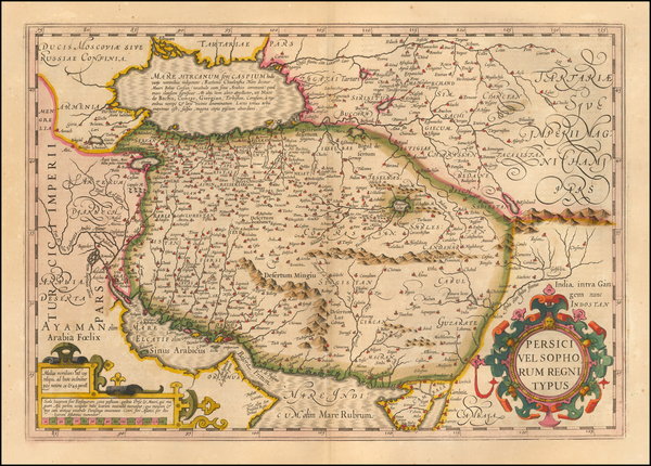 62-Central Asia & Caucasus, Middle East and Persia Map By Jodocus Hondius