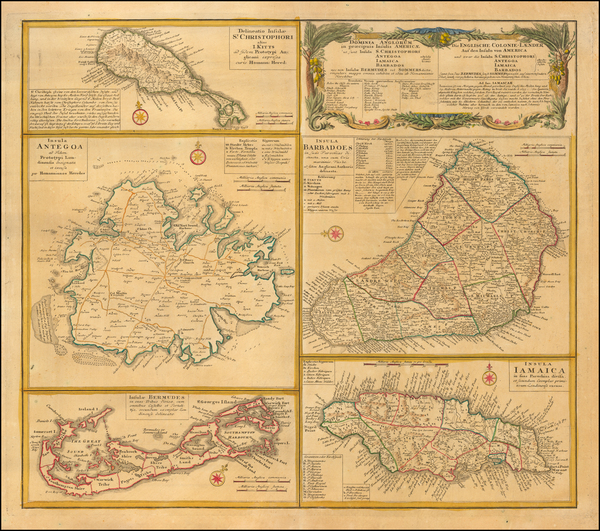 6-Caribbean, Jamaica, Bermuda and Other Islands Map By Homann Heirs