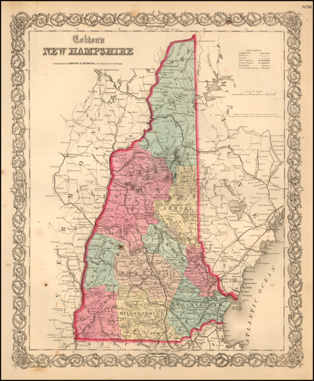 98-New Hampshire Map By Joseph Hutchins Colton