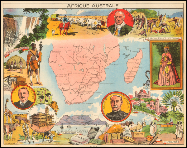 99-South Africa and African Islands, including Madagascar Map By Joseph Porphyre Pinchon