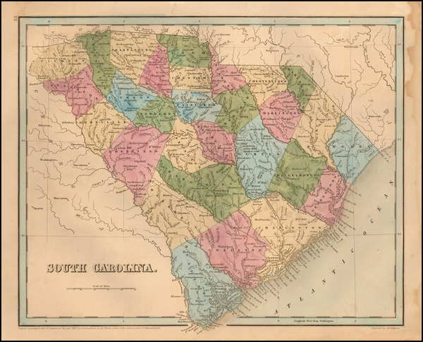 Southeast and South Carolina Map By Thomas Gamaliel Bradford