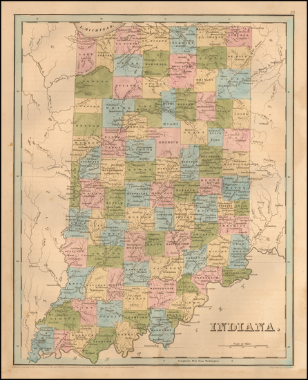 84-Indiana Map By Thomas Gamaliel Bradford