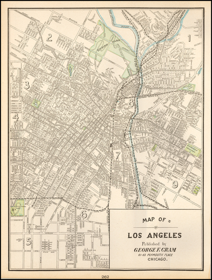 85-Los Angeles Map By George F. Cram