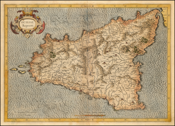 13-Sicily Map By  Gerard Mercator