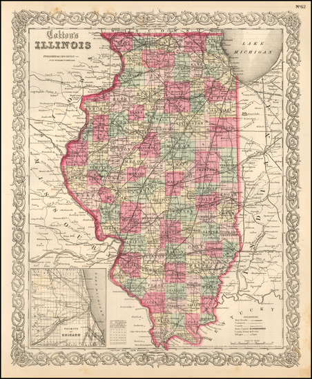 6-Midwest and Illinois Map By Joseph Hutchins Colton