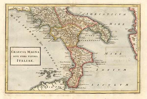 43-Europe, Italy, Greece, Mediterranean and Balearic Islands Map By Christoph Cellarius