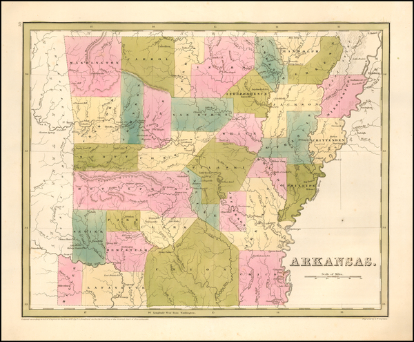 98-Arkansas Map By Thomas Gamaliel Bradford