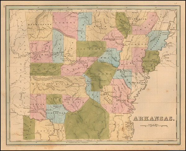 76-Arkansas Map By Thomas Gamaliel Bradford
