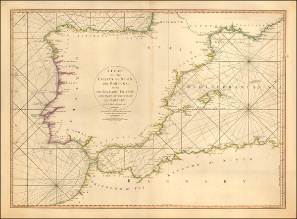 45-Spain, Portugal, Mediterranean and Balearic Islands Map By William Faden