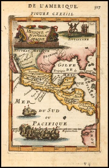 11-Texas, Southwest, Rocky Mountains and Mexico Map By Alain Manesson Mallet