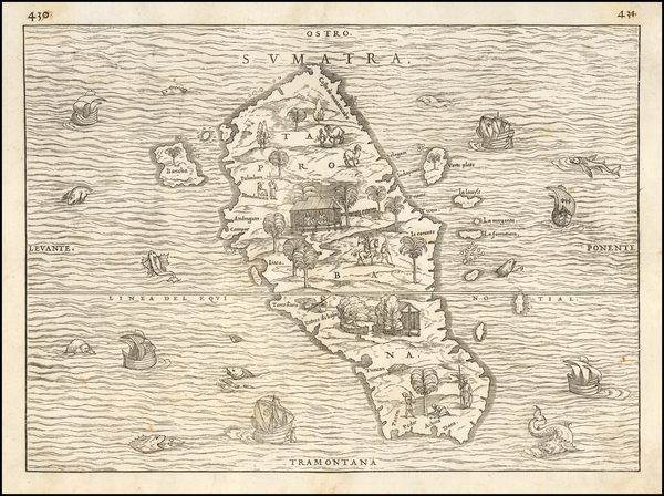 91-Indonesia and Sri Lanka Map By Giovanni Battista Ramusio
