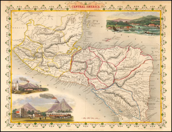 Central America Map By John Tallis