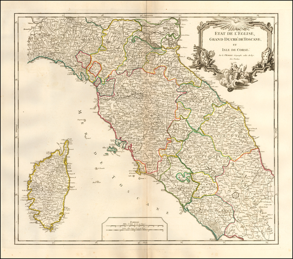 83-Northern Italy, Southern Italy and Corsica Map By Didier Robert de Vaugondy