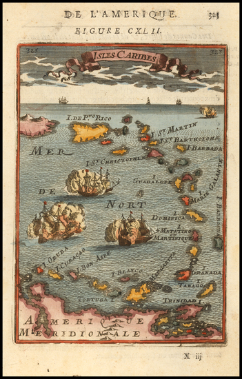 77-Caribbean and Puerto Rico Map By Alain Manesson Mallet