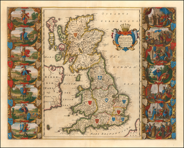 48-British Isles and England Map By Willem Janszoon Blaeu