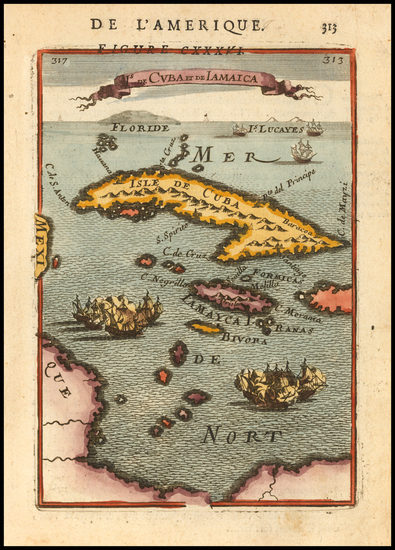 18-Cuba and Jamaica Map By Alain Manesson Mallet