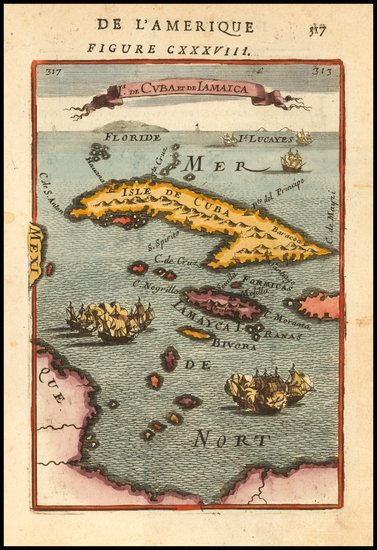 16-Cuba and Jamaica Map By Alain Manesson Mallet