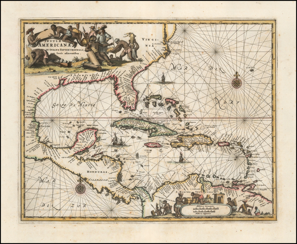 South, Southeast, Caribbean and Central America Map By John Ogilby