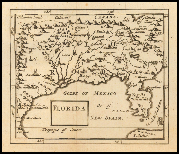 16-Florida, South, Southeast and Texas Map By Sir Jonas Moore