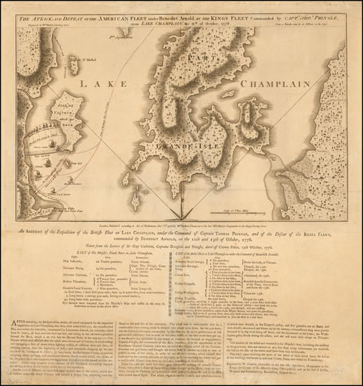 68-New England, Vermont, New York State and American Revolution Map By William Faden