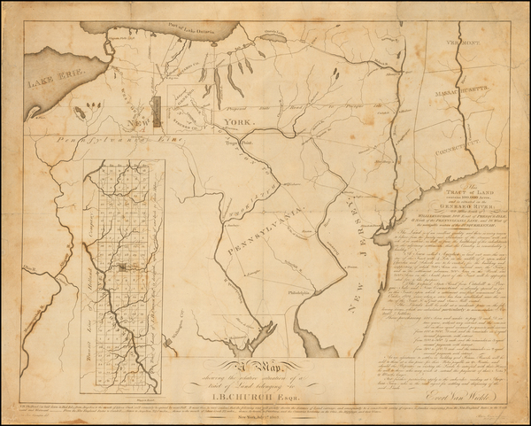 88-New York State and Pennsylvania Map By Peter Maverick / Joseph Francois Mangin