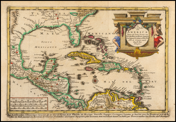 Caribbean and Central America Map By Pieter van der Aa