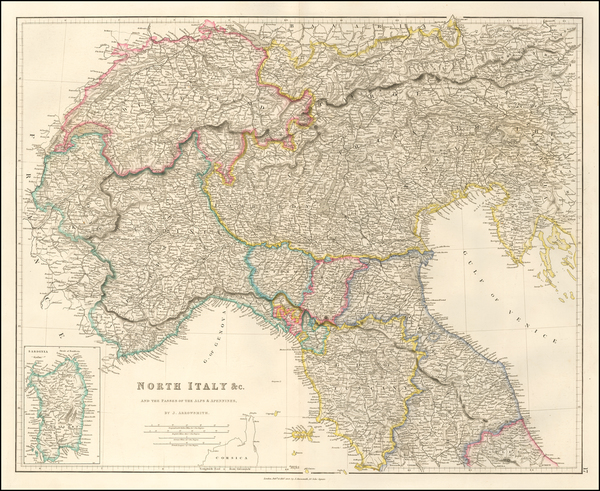 75-Austria and Northern Italy Map By John Arrowsmith