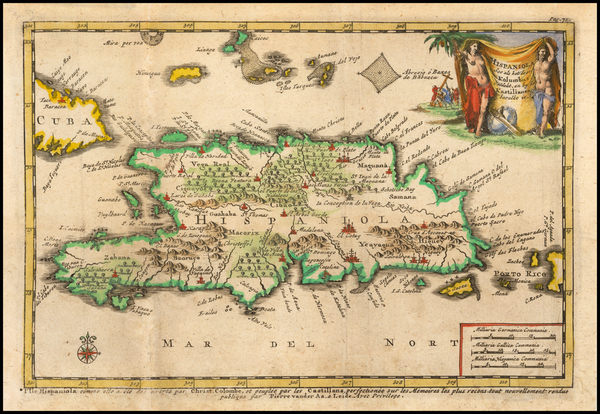 71-Hispaniola Map By Pieter van der Aa