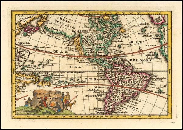 92-America Map By Adam Friedrich Zurner / Johann Christoph Weigel