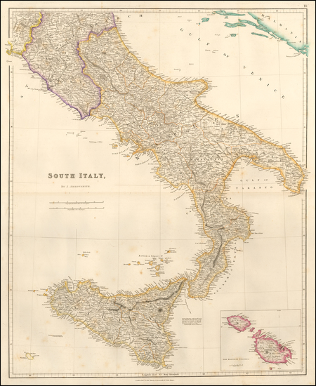 5-Southern Italy and Sicily Map By John Arrowsmith