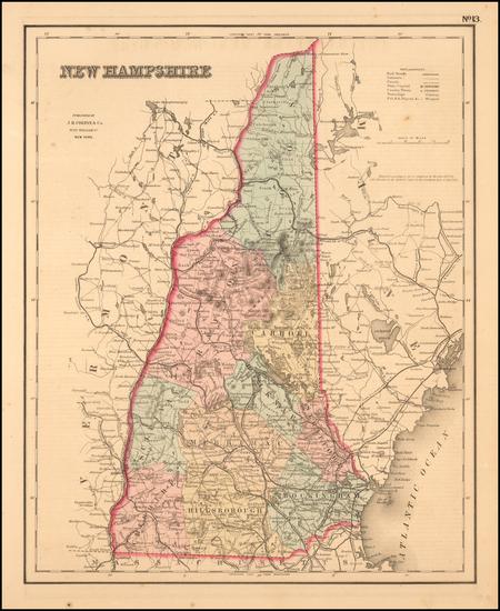 11-New Hampshire Map By Joseph Hutchins Colton