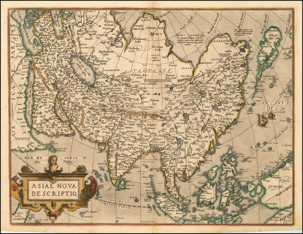 57-Asia, Australia & Oceania and Oceania Map By Abraham Ortelius