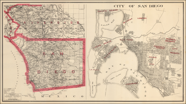 45-California and San Diego Map By Punnett Brothers / C.F. Weber Co.