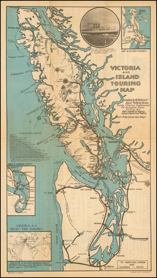 Washington and Canada Map By Victoria & Island Publicity Bureau