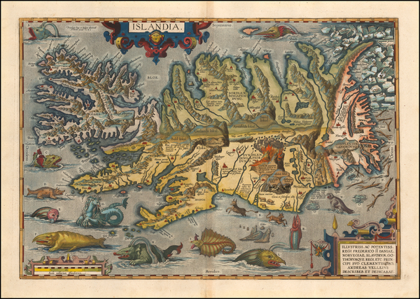 46-Iceland Map By Abraham Ortelius